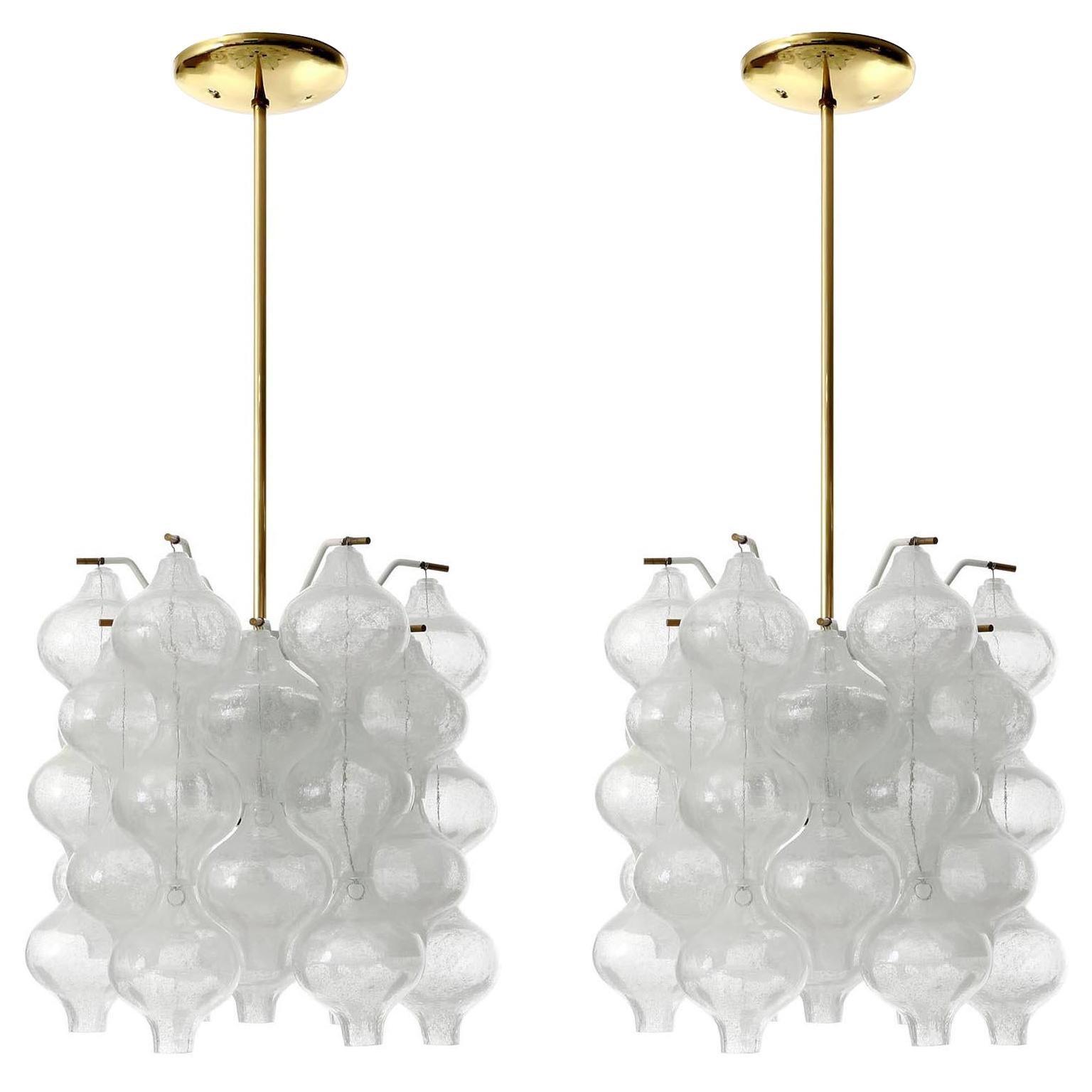One of Two Kalmar 'Tulipan' Chandeliers Pendant Lights, Glass Brass, 1970