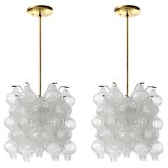 Two Kalmar 'Tulipan' Chandeliers Pendant Lights, Glass Brass, 1970