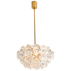 Stunning Faceted Crystal and Gilt Metal Chandelier, Germany, 1970