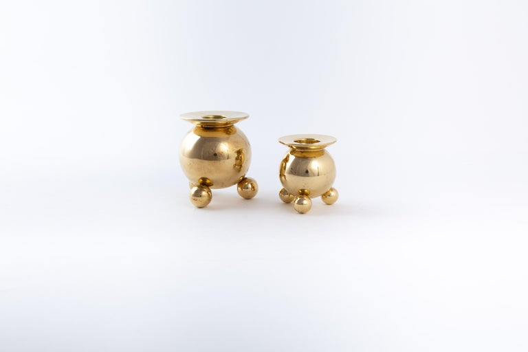 Mid-20th Century Two Kölback Studio Candleholders Brass For Sale