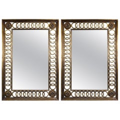Two La-Barge Scroll Wood Gold Leaf Wall Mirrors