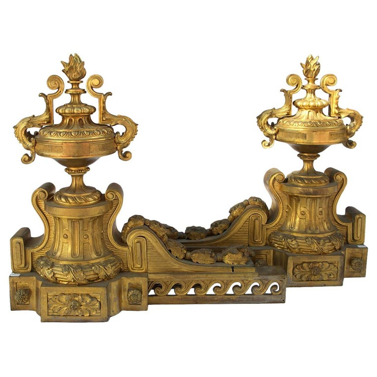 Two Large 1870s Louis XVI Style Bronze Firedogs For Sale