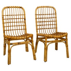 Two Large 1960s Italian Bamboo Chairs in a Very Good Vintage Condition