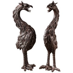 Two Large Antique French Cast Iron Phoenix Birds, circa 1880