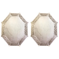 Two Large Antiqued and Etched Venetian / Murano Glass Octagonal Wall Mirrors