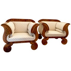 Two Large Biedermeier Armchairs Walnut Cream Material with Blue Flowers