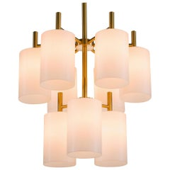 Two Large Brass Chandeliers by Luxus, Sweden