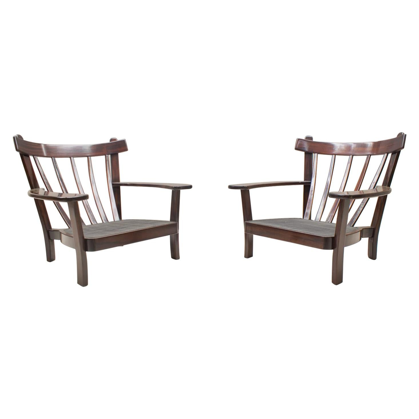 Two Large Brazilian Armchairs in the Manner of Sergio Rodrigues, 1960s