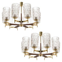 Two Large Chandeliers by Rupert Nikoll, Brass Wood and Glass, Austria, 1960