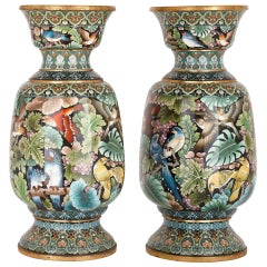 Two Large Chinese Cloisonné Enamel Vases