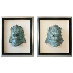 Two Large Khmer style Foo Dogs Bronze Cast Masks Mounted and Framed