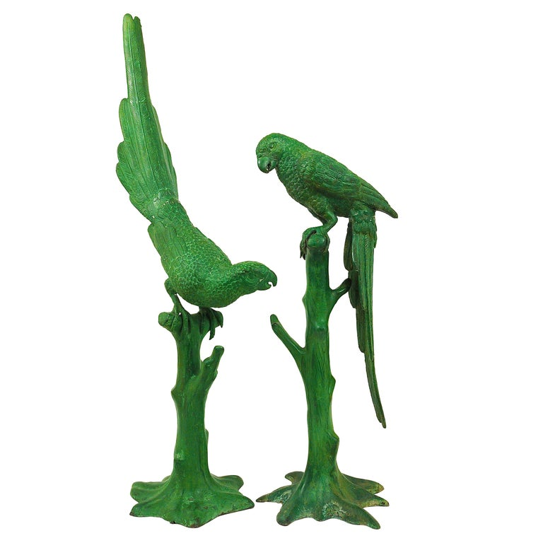 """Two Large Decorative """"Parrots on a Tree Branch"""" Bronze Sculptures, France, 1970s For Sale"""