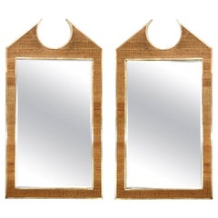 Two Large French Braided Rattan Frame Mirrors