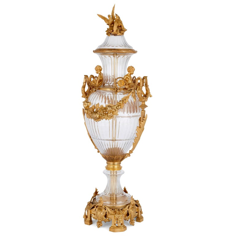 Two large glass and gilt bronze vases in neoclassical style