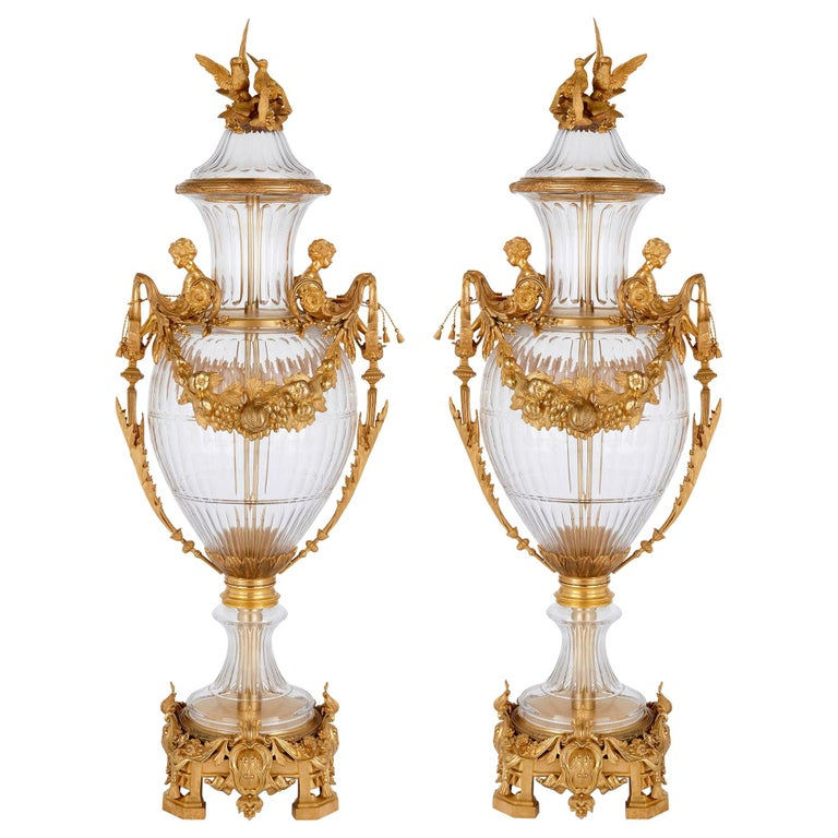 Two Large Glass and Gilt Bronze Vases in Neoclassical Style For Sale