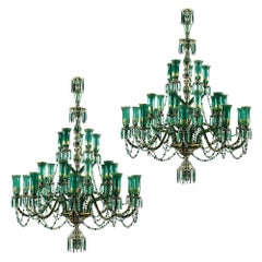 Two Large Green and Parcel Gilt Glass Chandeliers by Osler for Indian Market