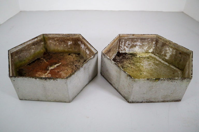 A set of two Mid-Century Modern large hexagon planters of composition stone for an indoor or outdoor garden, garden room, or terrace, designed by the iconic Willy Guhl in the early 1960s. They have a lovely naturally-weathered surface.