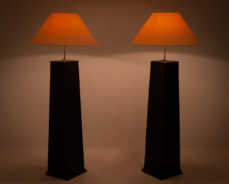 Two Large Leather Lamps For Sale 1