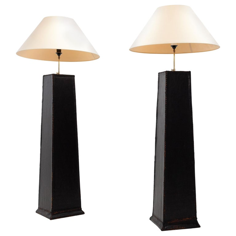 Two Large Leather Lamps For Sale