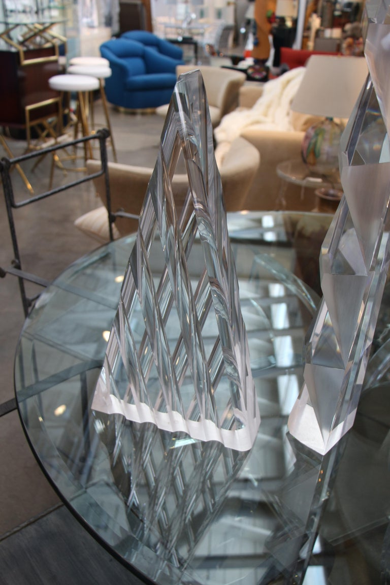 Late 20th Century Two Large Lucite Sculptures For Sale