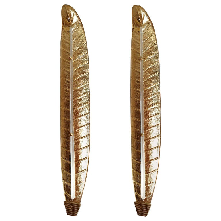 Two Large Mid-Century Modern Murano Glass Gold Leaf Sconces, Barovier Style 1970 For Sale