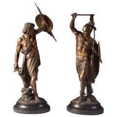 Two Large Oriental Warriors, Spelter on Marble Base, Second Half of 19th Century