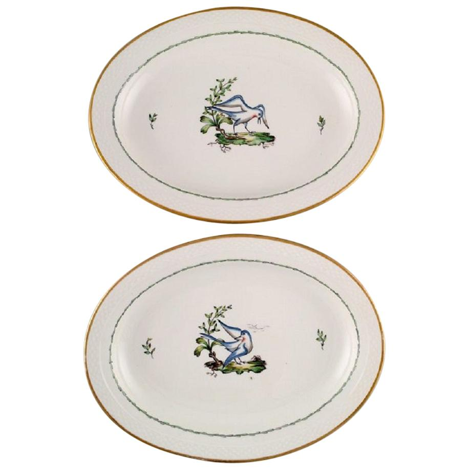 Two Large Oval Royal Copenhagen Serving Dishes in Hand Painted Porcelain