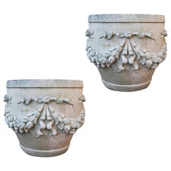 Two Large Reclaimed Limestone Garden Planters