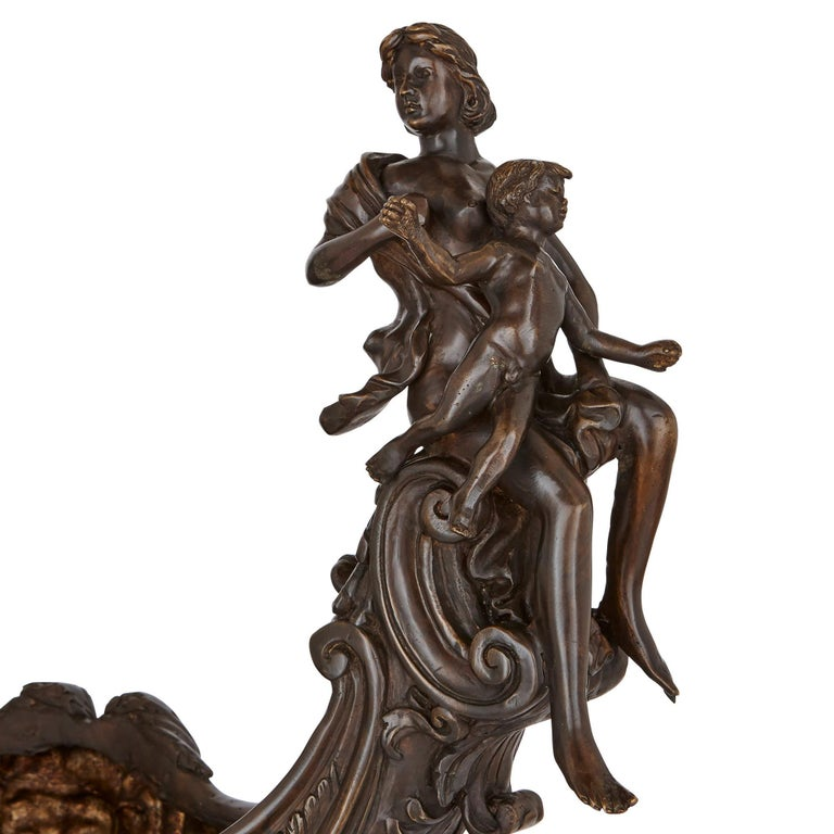 Bronzed Two large Renaissance style bronzed metal centrepiece garniture For Sale