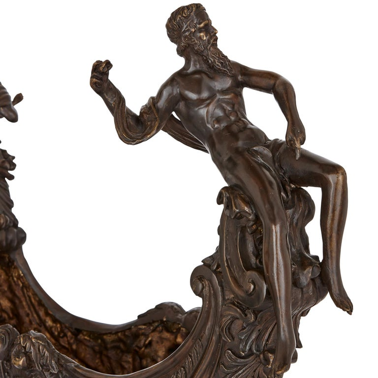 Two large Renaissance style bronzed metal centrepiece garniture In Good Condition For Sale In London, GB