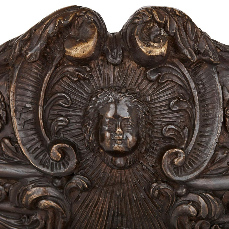 19th Century Two large Renaissance style bronzed metal centrepiece garniture For Sale