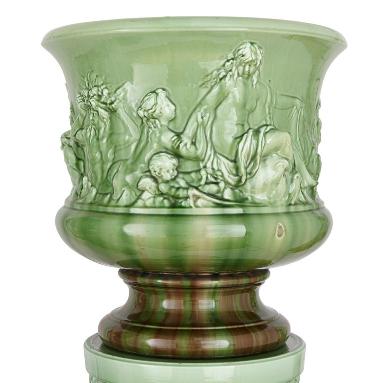 Neoclassical Two Large Renaissance Style Majolica Drip-Glazed Urns on Plinths For Sale