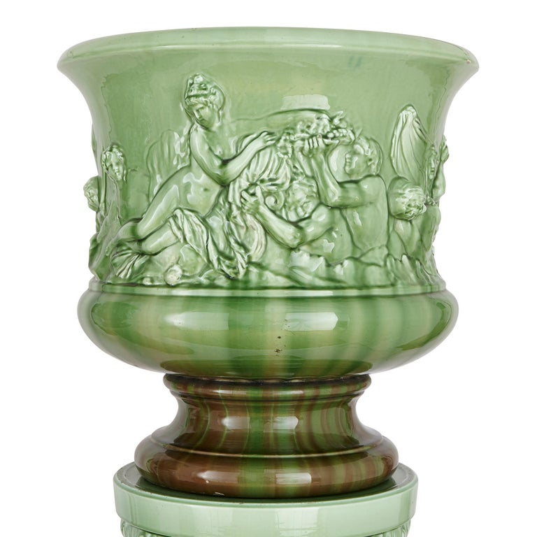 French Two Large Renaissance Style Majolica Drip-Glazed Urns on Plinths For Sale