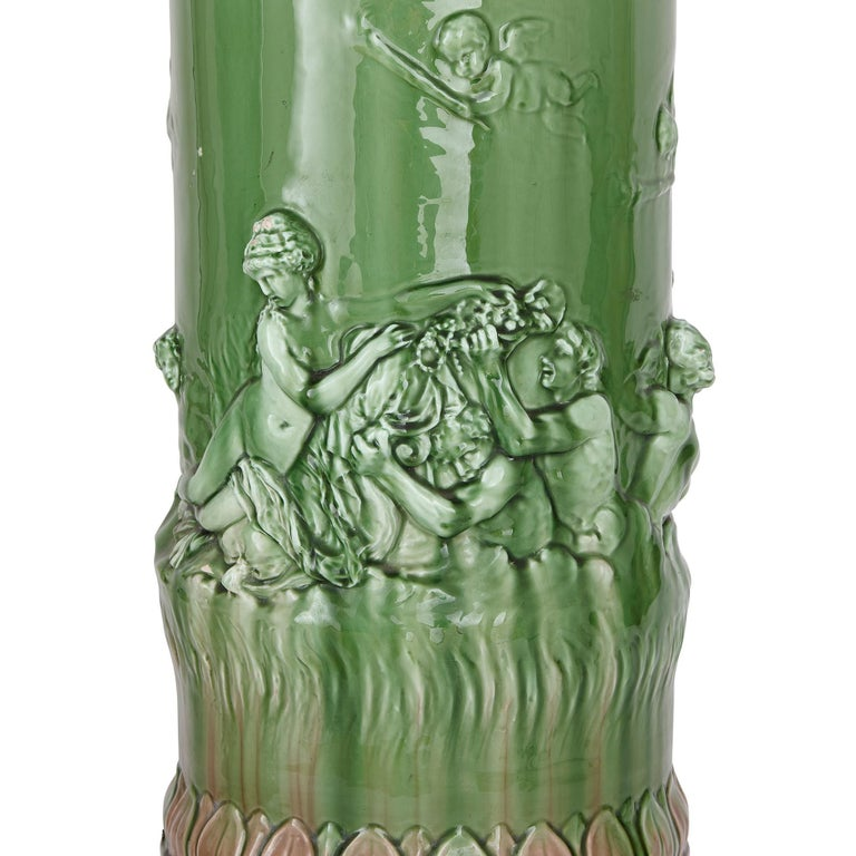 Two Large Renaissance Style Majolica Drip-Glazed Urns on Plinths In Good Condition For Sale In London, GB