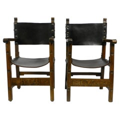 Two Large Spanish 1930s Knights Armchairs Made of Solid Wood and Core Leather