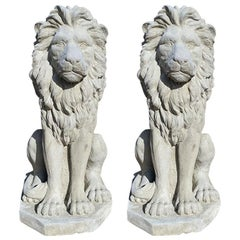 Two Large Tall Architectural Sitting Stone Concrete Lions, a Pair