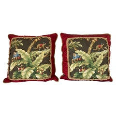 Two Large Throw Pillows with Tropical Jungle Boogie Monkeys