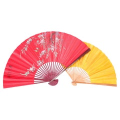 Two Large Vintage Japanese Paper Fans, Priced Individually
