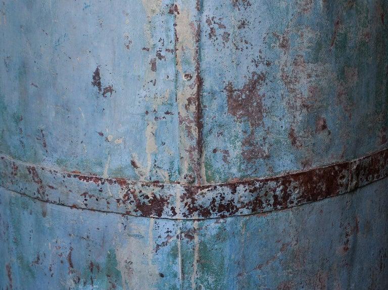Two Large Vintage Metal Barrels For Sale 2