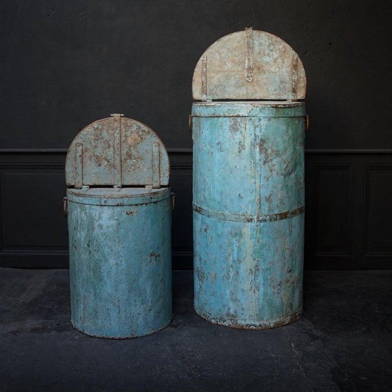 Two Large Vintage Metal Barrels For Sale 4