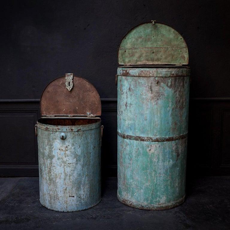 Dutch Two Large Vintage Metal Barrels For Sale
