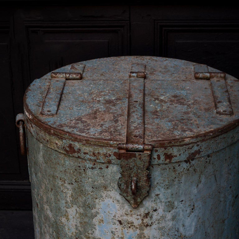 20th Century Two Large Vintage Metal Barrels For Sale