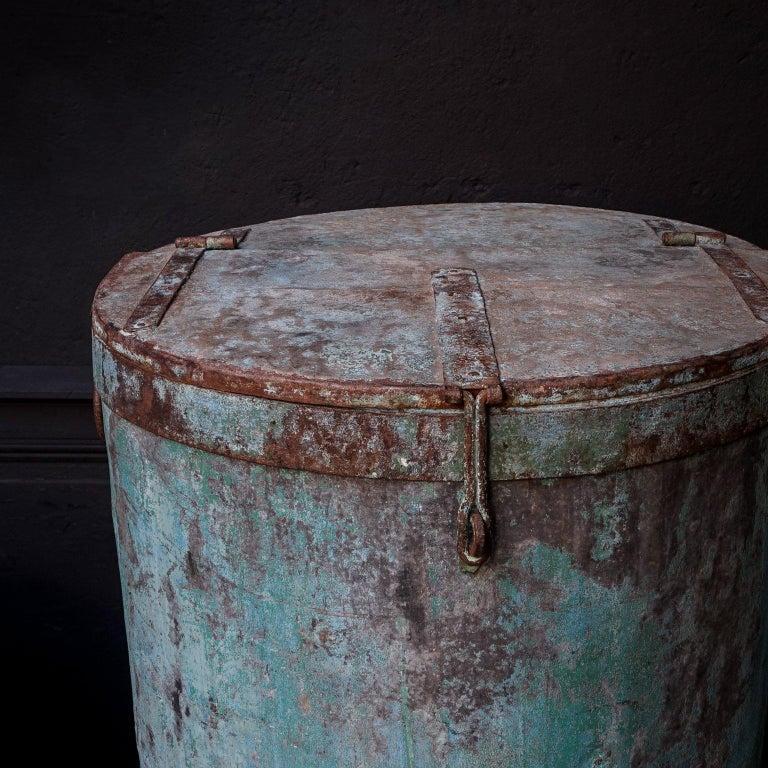 Two Large Vintage Metal Barrels For Sale 1