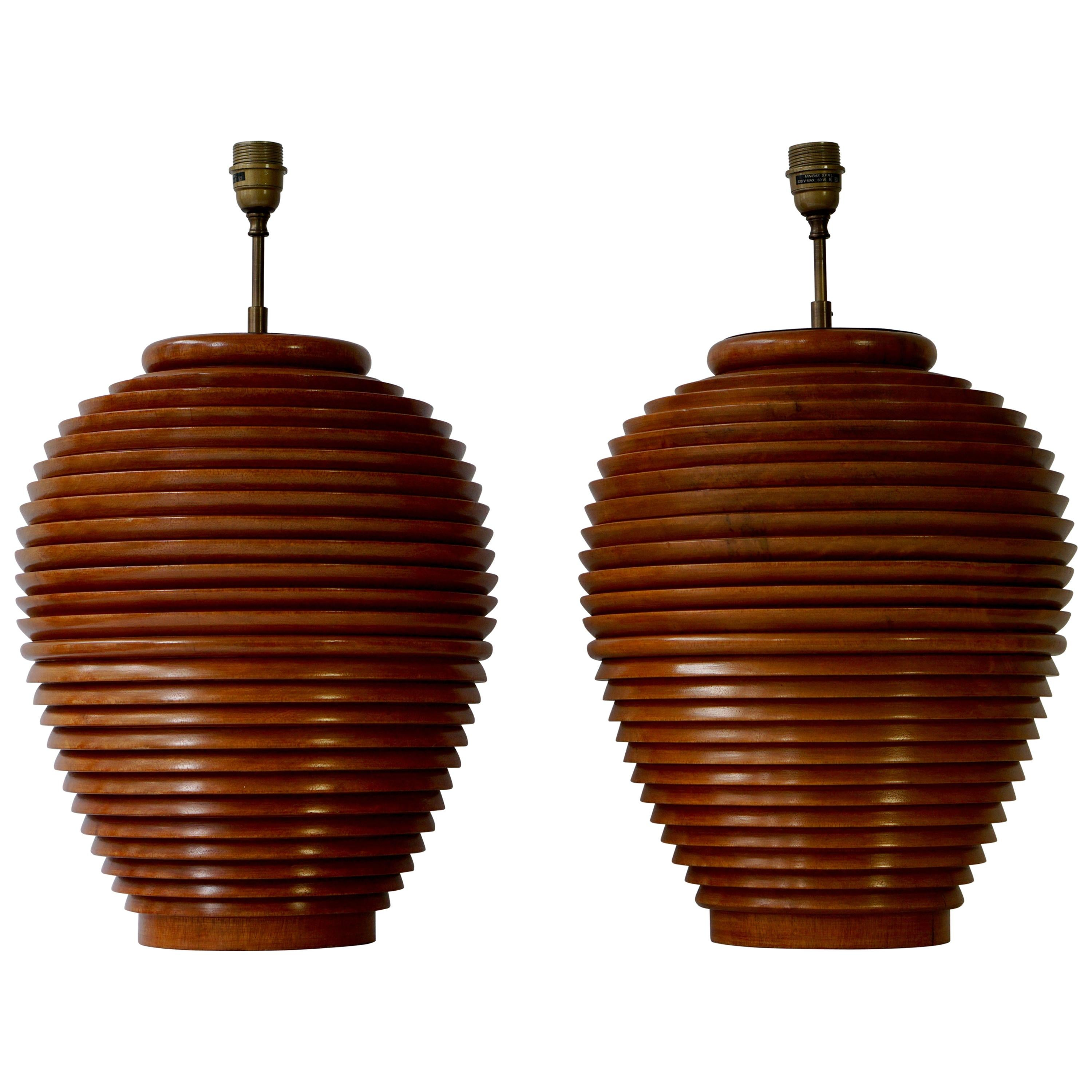 Two Large Wooden Table Or Floor Lamps, Birma