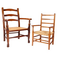 Two Late 19th/Early 20th Century Elm Children's Open Armchairs
