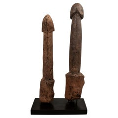 Two Late 19th-Early 20th Century Wood Legba Phalluses, Fon People, West Africa