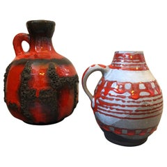 Two Lava Ceramic West Germany Jugs, circa 1970
