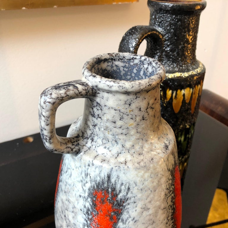 Mid-Century Modern Two Lava Keramik German Jugs by Scheurich, circa 1970 For Sale