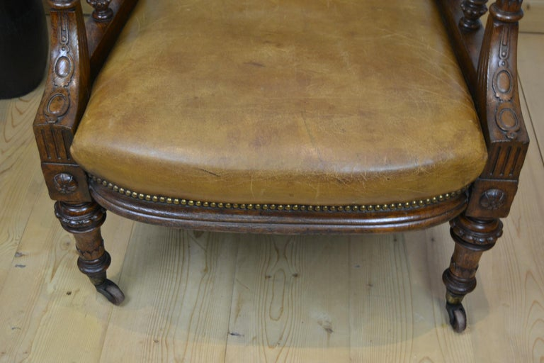 Two Leather Library Chairs, Leather Armchairs, Late 19th Century For Sale 5
