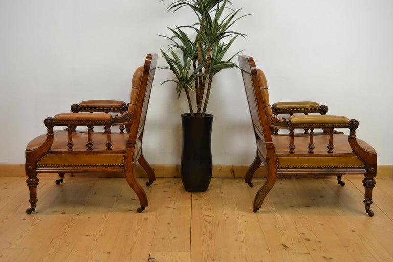 Two Leather Library Chairs, Leather Armchairs, Late 19th Century For Sale 7
